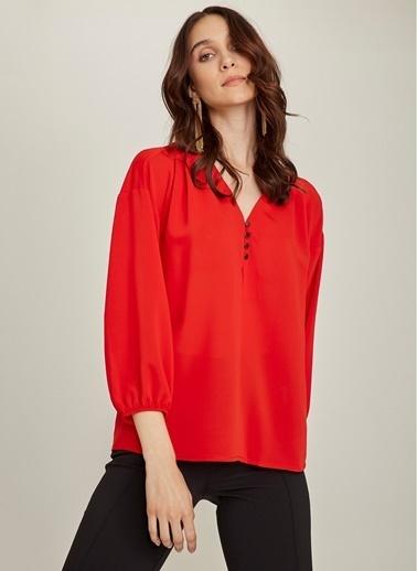 NGSTYLE Essentials - Dökümlü Krep Bluz Kırmızı